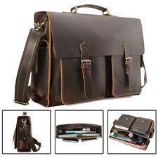 """Vintage Mens Full Grain Leather Large 17"""" Laptop Briefcase Shoulder Bag Satchel"""