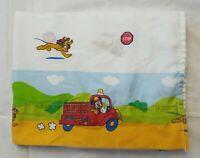 Disney Mickey Mouse Pluto Twin Flat Sheet Fire Truck Fireman Signs Cotton Blend