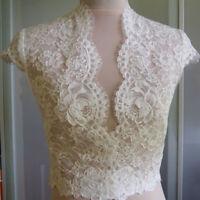 V-Neck Wedding Jackets Lace Top Bolero Cap Sleeve Bridal Wraps Prom Shawl Shrug