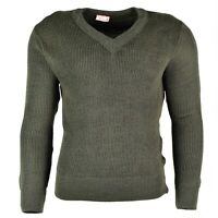 Original French army sweater pullover Jumper Chlorofibre V-neck wool