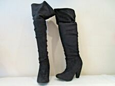 ATMOSPHERE BLACK SYNTHETIC SUEDE OVER KNEE PULL ON BOOTS UK 7 EU 41 (3245)
