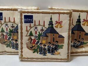 Lot of 3 Vtg Home Fashion Nutcracker Christmas Beige Paper Napkins Made Germany