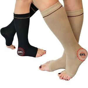 Gel Heel Ankle Protector Socks Achilles Tendon Support Compression Pain Relief