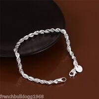 Damen Armband  925 Sterlingsilber plt.geflochten 20,5cm Silber Kette Schmuck S3