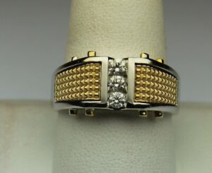 HEAVY Men's diamond ring 1/3 cttw GH SI2 14kt 2 tone gold size 10.25 EXCELLENT