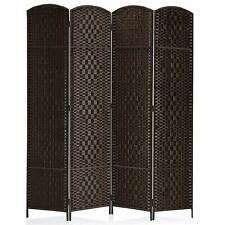 6ft Room Divider Diamond Weave Fiber Privacy Folding Screen Freestanding 4 Panel