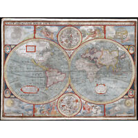 Speed 1626 Pictorial Map World Hemispheres Canvas Wall Art Print Poster