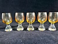 Vintage 5 Faded Amber Glass Shot Glasses Hand Blown Art Glass Controlled Bubble