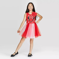 Girls Disney Minnie Mouse Red/Pink Valentines Day Sleeveless Tulle Dress
