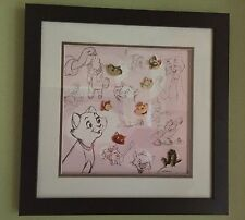 Disney Cats Framed 7 Pins Set LE 3000 Cert of Auth Lucifer Caterpillar Marie