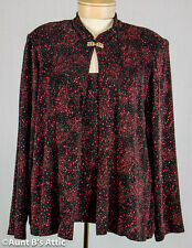 Woman's Knit Top Jacket Combo Red and Black Sparkle Evening Sweater