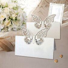 20x Farfalle Segnaposto BIANCO PERLATO bomboniera matrimonio segnatavolo inviti