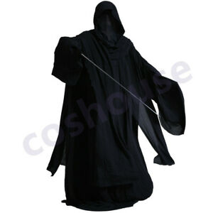 Men's Witch King Costume Halloween Outfit Sith Hooded Robe with Scarf Black