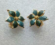 boucles d'oreilles vintage à clips doré à motif fleur bleu vert