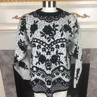 VTG KITTY HAWK By Vivian Wang M Black Ivory Floral Pearl Embellished Sweater
