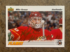signed in person  MIKE VERNON  CALGARY FLAMES  upper deck  # 163   1991-92
