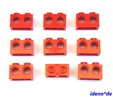 LEGO Technic Technik 9 Stk. Loch Stein Balken 1 x 2 rot red 32000 4179355  NEU