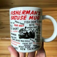 Fisherman'S Excuse MugCoffee Cup 10 oz Fishing Sport Novelty Gift Euc