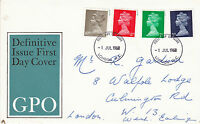 1 JULY 1968 ALL 4 DEFINITIVE VALUES GPO FIRST DAY COVER LONDON WC FDI