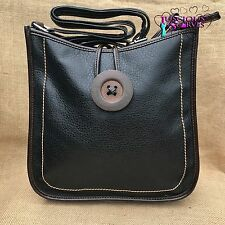 Ladies Black Cross body Faux Leather Big Button Fashion Shoulder Bag Handbag