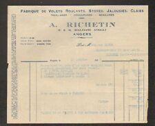 """ANGERS (49) USINE de VOLETS ROULANTS STORES JALOUSIES """"A. RICHETIN"""" en 1933"""