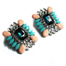 ZARA MULTICOLOUR SPARKLING CRYSTAL STONE STUD EARRINGS – NEW