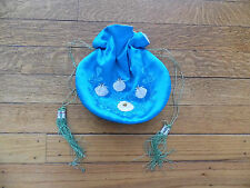 VINTAGE KOREAN SILK DRAWSTRING PURSE/JEWELRY/COSMETIC BAG, TOURQUOISE W/FLOWERS