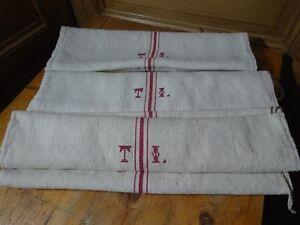 Antique European Feed Sack GRAIN SACK TI Monogram # 10450