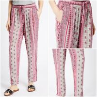 NEW EX M&S PINK Mix Print Beach Casual Trousers Summer Holiday Size 10- 22