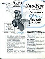 1958 Brochure Ad Bros Sno-Flyr Series SA 20 26 Sidewalk Rotary Snow Plow Blower