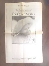 VINTAGE NEWSPAPER DAILY TELEGRAPH APRIL 9th 2002 QUEEN MOTHER FUNERAL SERVICE