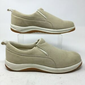 Lands' End Slip On Sneakers Mens 9 HB Beige Suede Casual Shoes Low Top Comfort