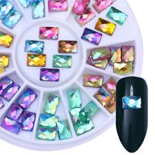 Pink Blue Nail Art Rhinestone Rectangle Water Drop Flat Back 3D Decoration Wheel
