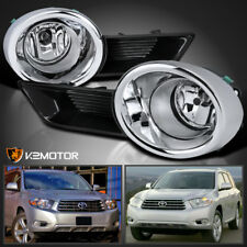 For 2008-2010 Toyota Highlander Clear Lens Bumper Driving Fog Light+Bulbs+Switch