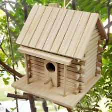 Bird House Wooden Natural Nesting Box Animals Garden Patio Feeder Roof