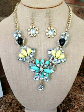BLING!! BLING!! NEW NECKLACE OF LARGE AND SMALL RHINESTONE CRYSTALS YELLOW TEAL