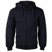 Men's Athletic Soft Sherpa Lined Fleece Zip Up Hoodie Sweater Jacket w/ Defect
