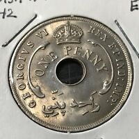 1942 BRITISH WEST AFRICA ONE PENNY BRILLIANT UNCIRCULATED COIN