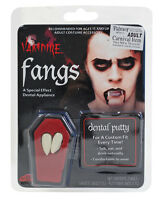 VAMPIRE DRACULA FANGS CAPS WHITE TEETH WITH PUTTY ADHESIVE HALLOWEEN FANCY DRESS