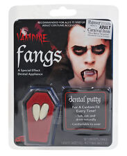 WHITE TEETH VAMPIRE DRACULA FANGS CAPS WITH PUTTY ADHESIVE HALLOWEEN FANCY DRESS
