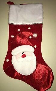 NEW red velvet soft CHRISTMAS STOCKING SANTA boy girl men women SILVER TRIM 20.5