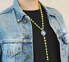 BRAZIL Flag Pendant Necklace, Brasil Beaded Necklace Brazilian Soccer Fan Gift