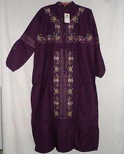NEW Embroidered Cotton Purple Burgundy Abaya Jilbab Maxi Dress Plus Size 4 XL 1X