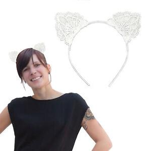 Haarreifen Süße Katzenohren in Weiß Fasching Karneval Party Kostüm