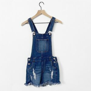 Love Tree Blue Medium Wash Distressed Denim Bib Overall Shortalls Shorts Size S
