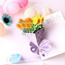 3D Pop Up Greeting Thank You Get Well Soon Card Flowers Bouquet LP