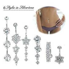 14G CZ Dangle Belly Button Ring Surgical Steel Navel Bar Barbell Body Piercing