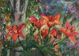 Original Oil Painting Flowers Floral Red Flowers Enoch Hlisic Australian Artist