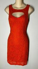 Arden B Coral Sleeveless All Over Floral Lace Keyhole Cocktail Dress NWT Sz.M
