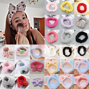 Girls Big Bow Soft Fleece Hair Band Sequin Head Wrap Headband Spa Make Up Shower